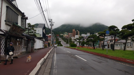 In addition to the peak of Mount Hakodate shrouded in mist, this photo also has a shiba inu in it.