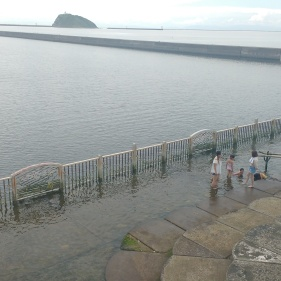There was this gate allowing people to safely soak their feet in the water of the bay without being able to swim.