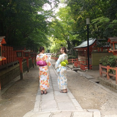 Still more people wearing yukata.
