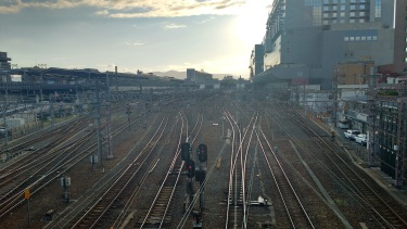 Kyoto station has a lot of rails.