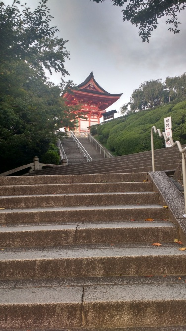 Kiyomizudera temple had lots of steps. It had just closed when I arrived, so I decided to return the next day.