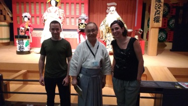The tour guide was awesome. Here we're standing in front of a recreation of a Kabuki play.