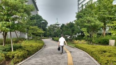Man walking along a path.