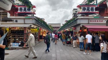 Hōzōmon temple in the distance while exploring the Asakusa shopping district.