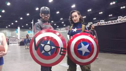 Andrew posing with a woman cosplaying Peggy Carter as Captain America!