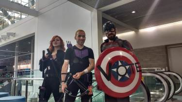 Black Widow, Hawkeye, and Cap