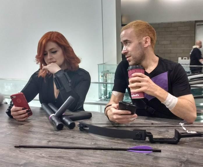 Clint and Natasha on a coffee break.